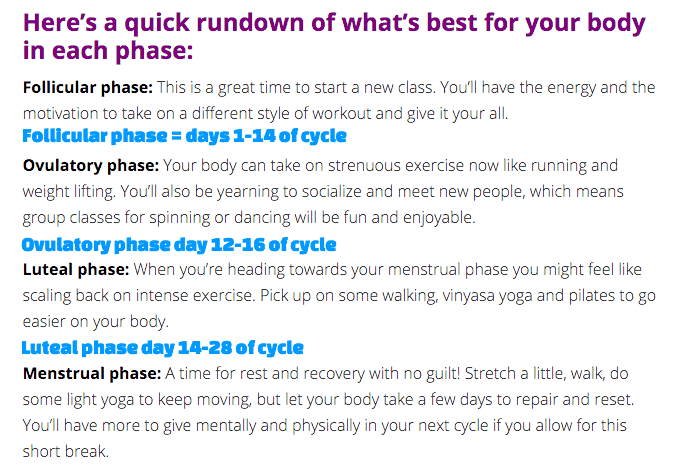 Cycle synching exercises