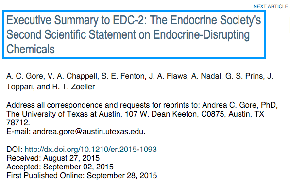 Executive Summary to EDC 2  The Endocrine Society s Second Scientific Statement on Endocrine Disrupting Chemicals