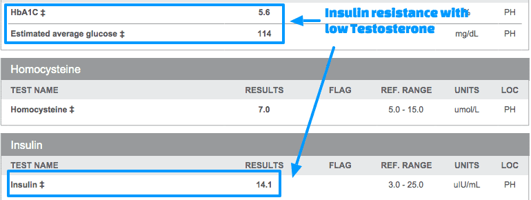 Insulin resistance with low testosterone