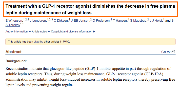 GLP1 agonists and leptin resistance