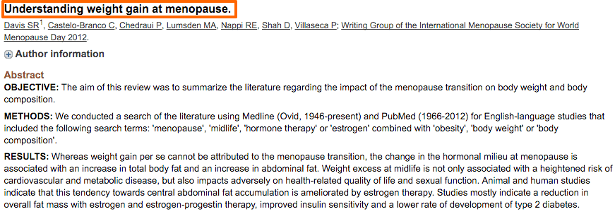 Weight gain at menopause