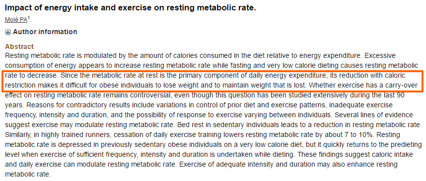 resting metabolism after calorie restriction