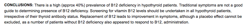 b12 deficiency and hypothyroidism
