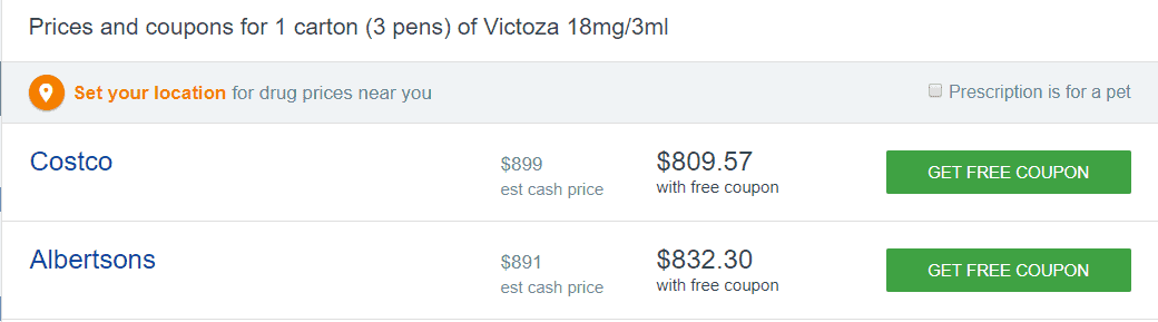 Victoza cost without insurance