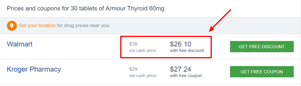 cost of armour thyroid for a 30 day supply