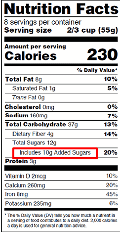 added sugar on food labels