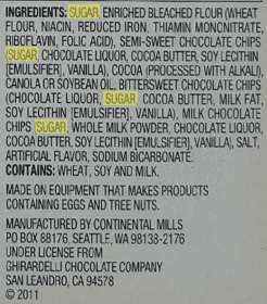 ingredient list and sugar content