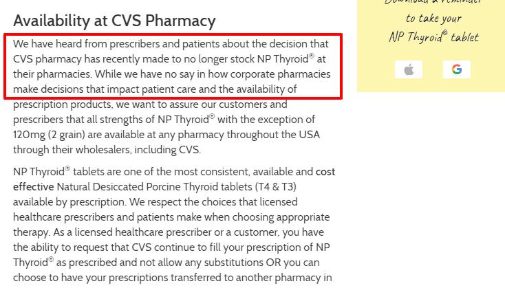 CVS no longer carries NP Thyroid