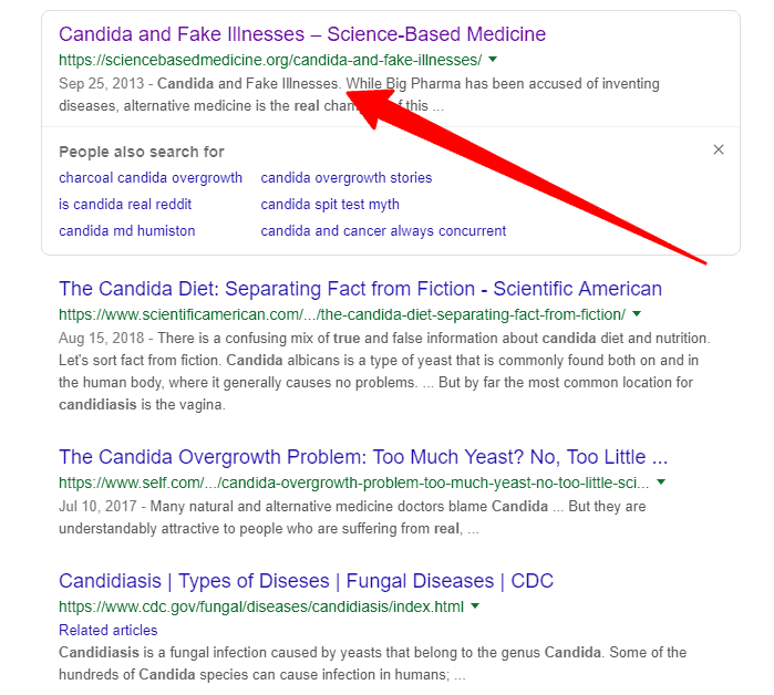 candida search results on google