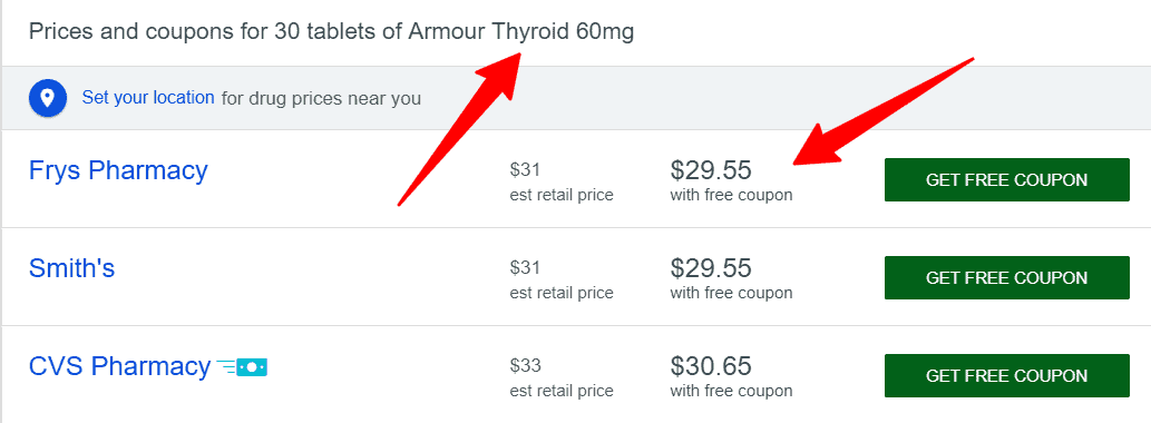 cash price of armour thyroid