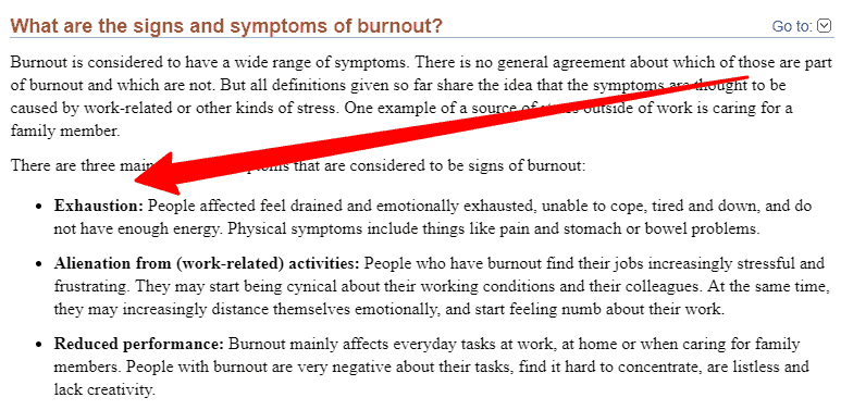 symptoms of burn out syndrome