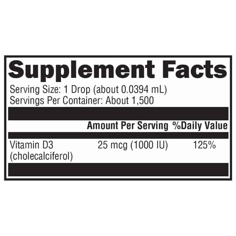 pure d3 liquid supplement facts and full ingredient list