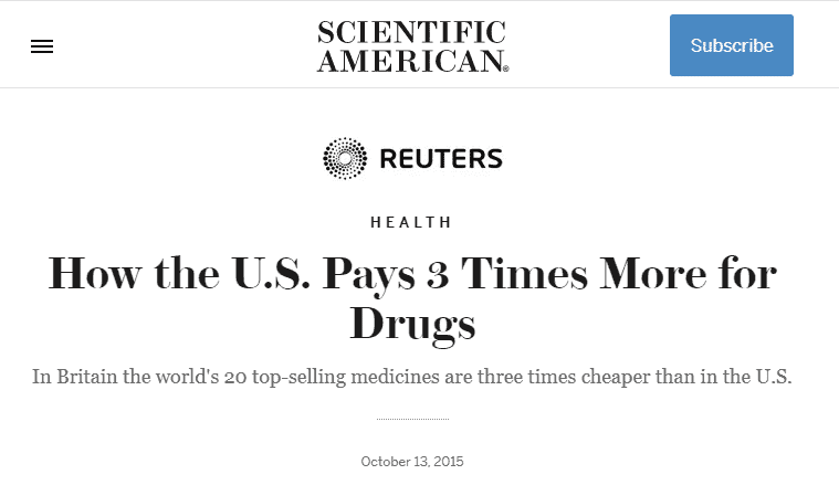 the united states pays 3x as much for prescription medications
