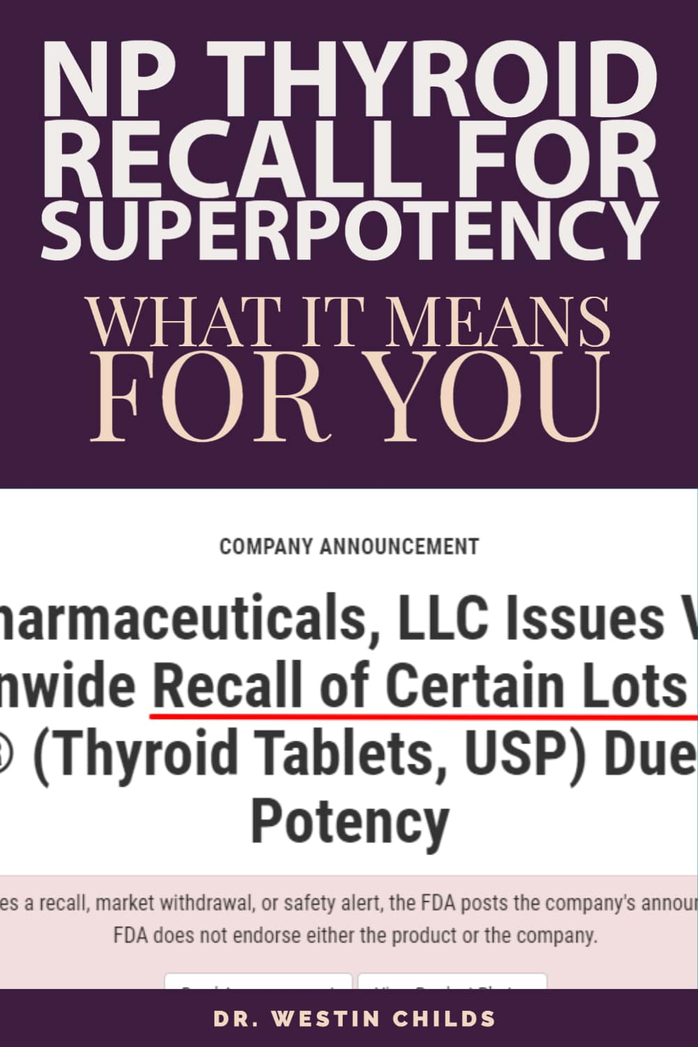 NP thyroid recall for superpotency pin