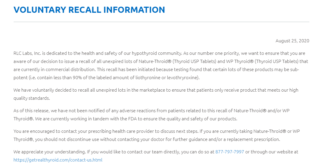 voluntary recall information naturethroid and wp thyroid